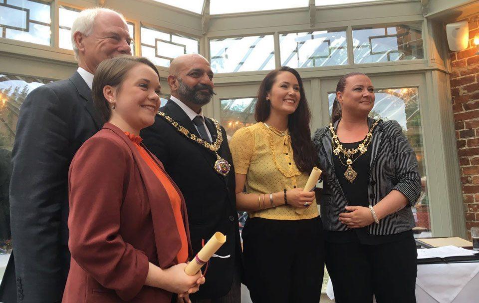 Nigel Chapman (Chairman), Rachel Armitage (2016 Scholar), Lord Mayor, Sarah-Marie Taylor (2016 Scholar), Jane Ferguson, Nottingham Roosevelt Celebration Event 2016